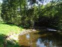 Náznak říčního pytle na levém břehu Metuje v Maršovském údolí.